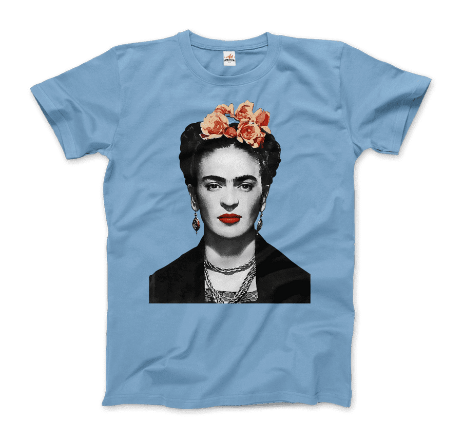 Frida Kahlo With Flowers Poster Artwork T-Shirt - Men / Light Blue / Small by Art-O-Rama