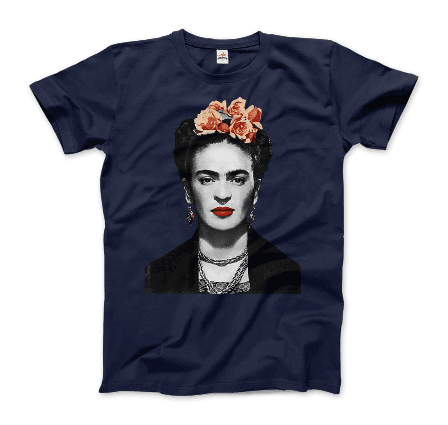 Frida Kahlo With Flowers Poster Artwork T-Shirt - Men / Navy / Small by Art-O-Rama
