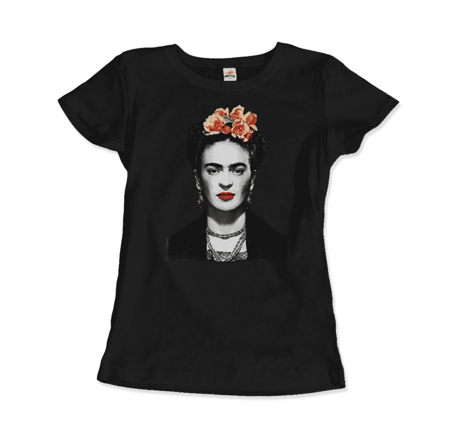 Frida Kahlo With Flowers Poster Artwork T-Shirt - Women / Black / Small by Art-O-Rama