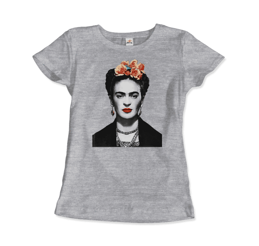 Frida Kahlo With Flowers Poster Artwork T-Shirt - Women / Heather Grey / Small by Art-O-Rama