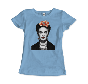 Frida Kahlo With Flowers Poster Artwork T-Shirt - Women / Light Blue / Small by Art-O-Rama