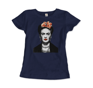 Frida Kahlo With Flowers Poster Artwork T-Shirt - Women / Navy / Small by Art-O-Rama