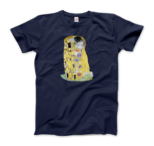 Gustav Klimt The Kiss (or The Lovers), 1908 Artwork T-Shirt - Men / Navy / Small by Art-O-Rama