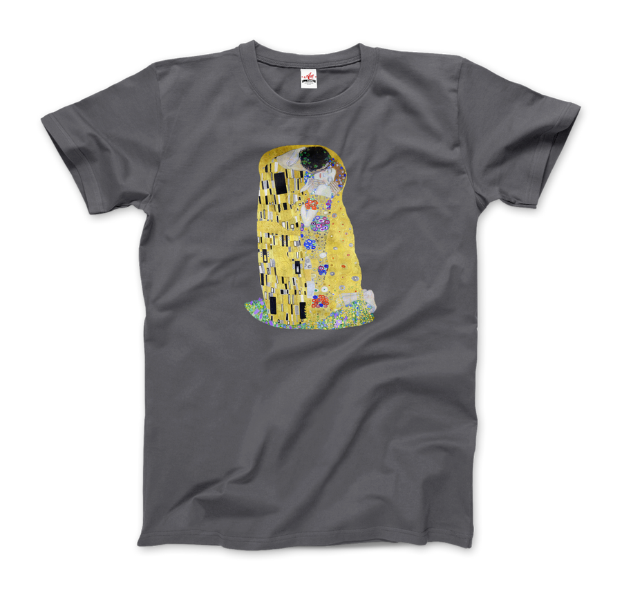 Gustav Klimt The Kiss (or The Lovers), 1908 Artwork T-Shirt - Men / Charcoal / Small by Art-O-Rama