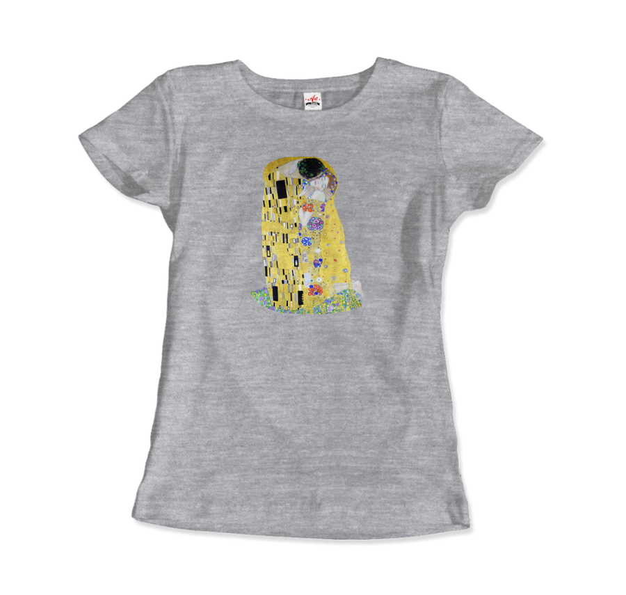 Gustav Klimt The Kiss (or The Lovers), 1908 Artwork T-Shirt - Women / Heather Grey / Small by Art-O-Rama