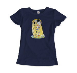 Gustav Klimt The Kiss (or The Lovers), 1908 Artwork T-Shirt - Women / Navy / Small by Art-O-Rama