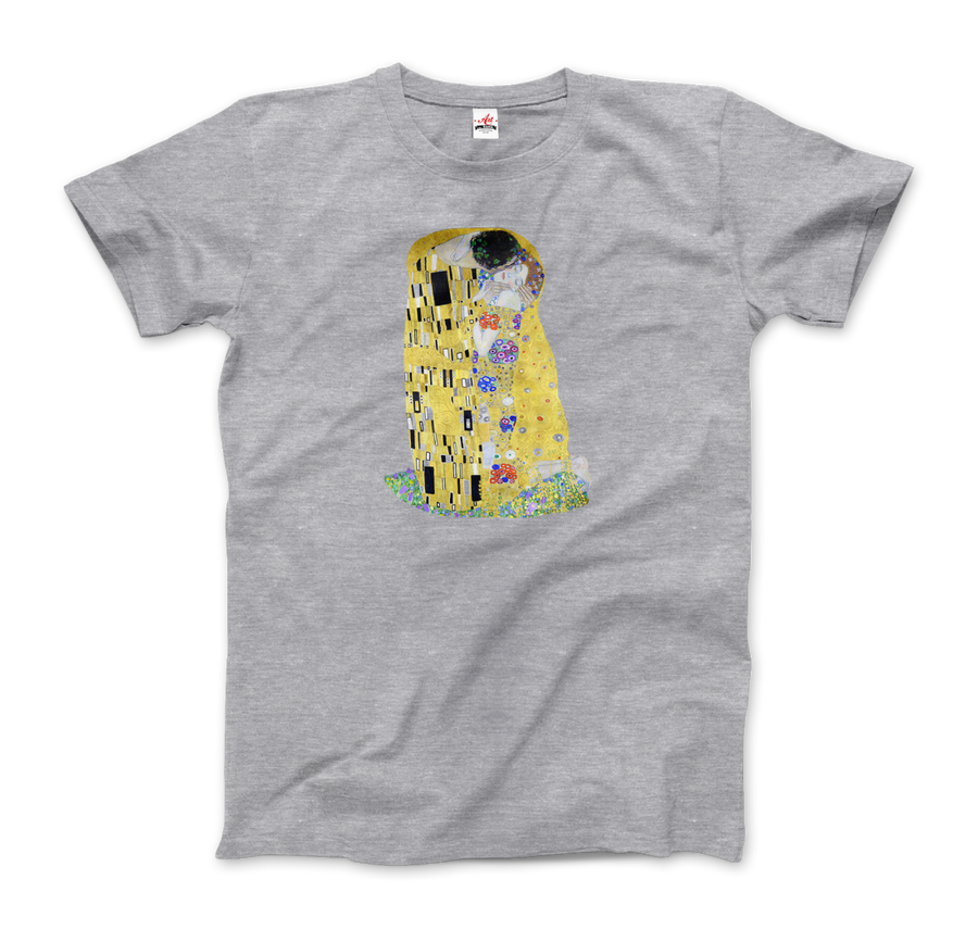 Gustav Klimt The Kiss (or The Lovers), 1908 Artwork T-Shirt - Men / Heather Grey / Small by Art-O-Rama