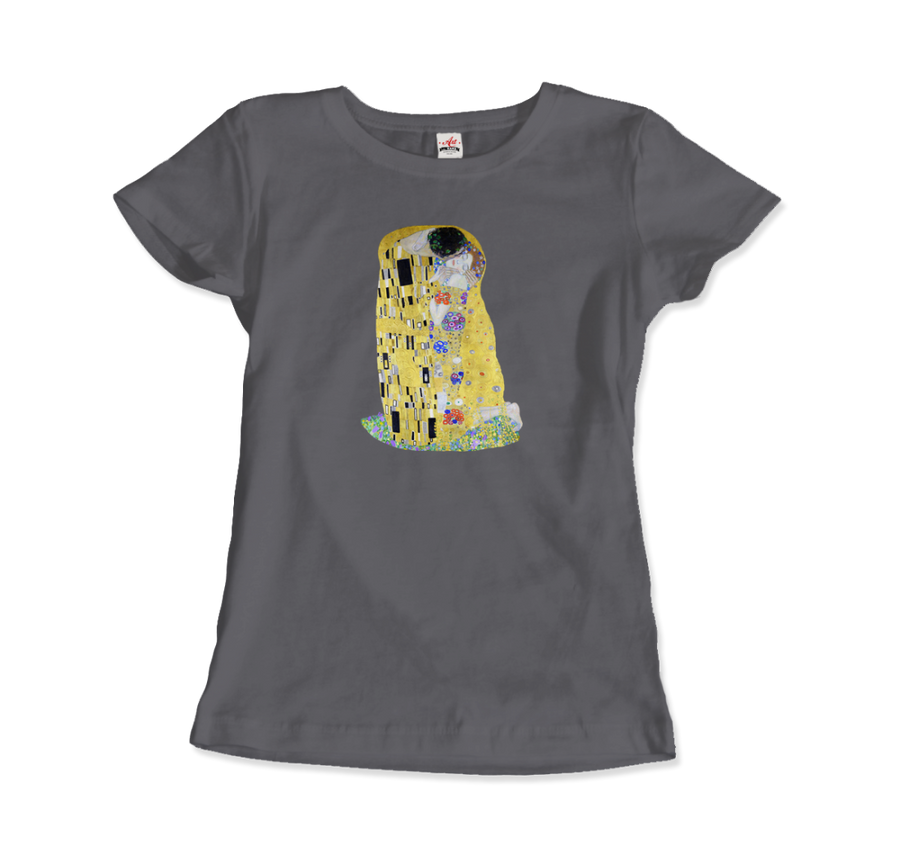 Gustav Klimt The Kiss (or The Lovers), 1908 Artwork T-Shirt - Women / Charcoal / Small by Art-O-Rama