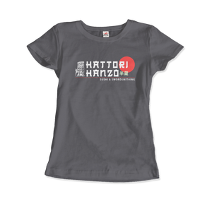 Hattori Hanzo, Sushi and Swordsmithing from Kill Bill T-Shirt - Women / Charcoal / Small by Art-O-Rama