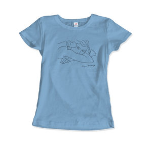 Henri Matisse Young Woman With Face Buried in Arms Artwork T-Shirt - Women / Light Blue / Small by Art-O-Rama
