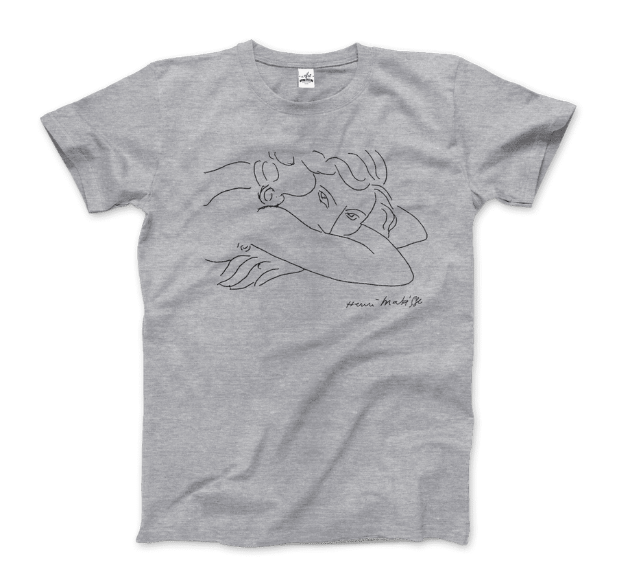Henri Matisse Young Woman With Face Buried in Arms Artwork T-Shirt - Men / Heather Grey / Small by Art-O-Rama