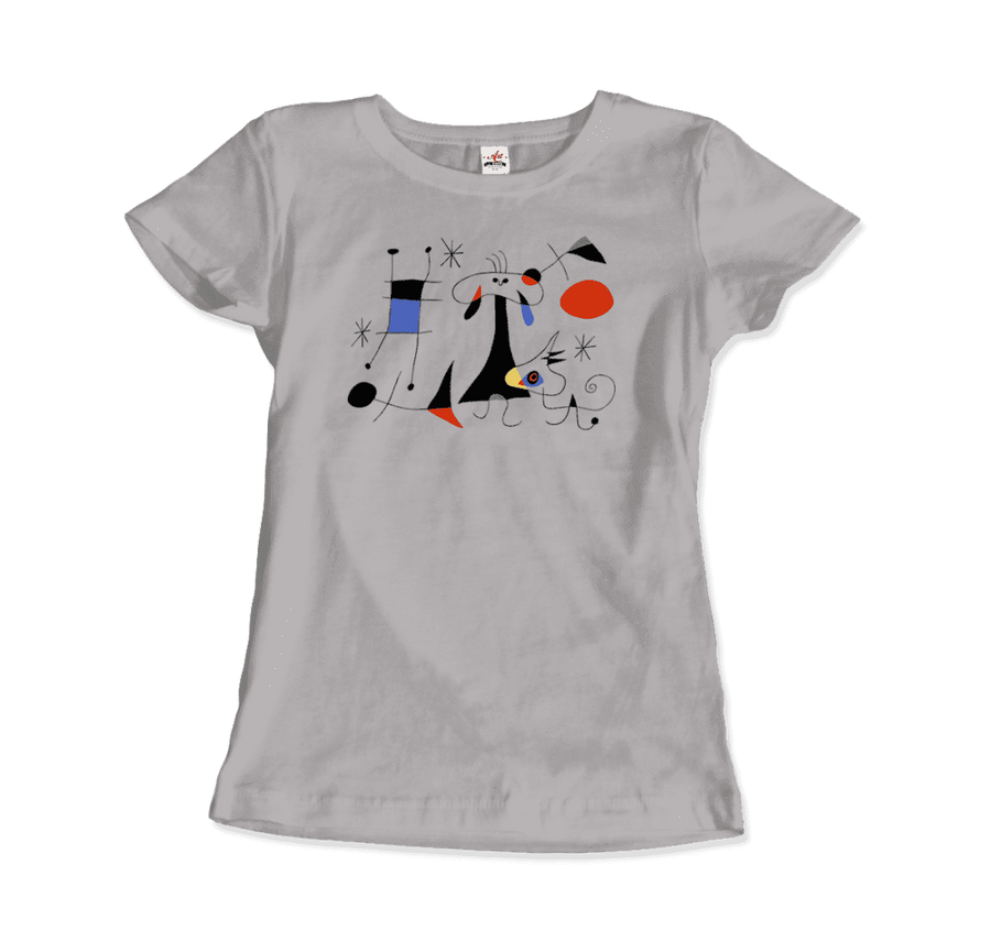 Joan Miro El Sol (The Sun) 1949 Artwork T-Shirt - Women / Silver / Small by Art-O-Rama