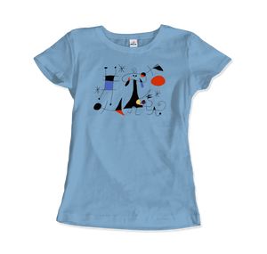 Joan Miro El Sol (The Sun) 1949 Artwork T-Shirt - Women / Light Blue / Small by Art-O-Rama