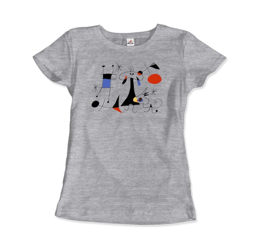 Joan Miro El Sol (The Sun) 1949 Artwork T-Shirt - Women / Heather Grey / Small by Art-O-Rama