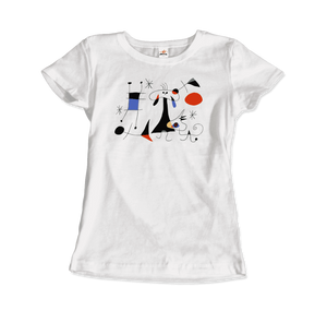 Joan Miro El Sol (The Sun) 1949 Artwork T-Shirt - Women / White / Small by Art-O-Rama