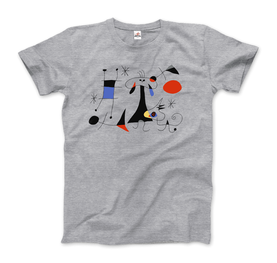 Joan Miro El Sol (The Sun) 1949 Artwork T-Shirt - Men / Heather Grey / Small by Art-O-Rama