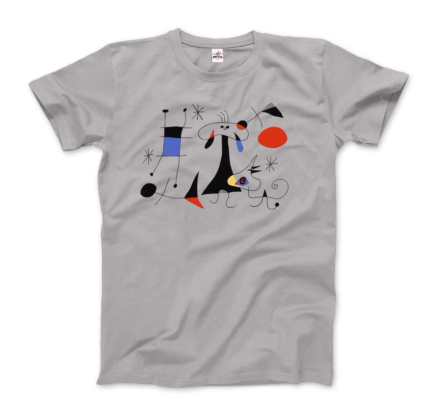 Joan Miro El Sol (The Sun) 1949 Artwork T-Shirt - Men / Silver / Small by Art-O-Rama
