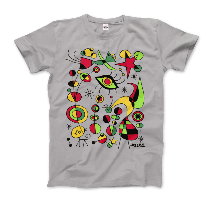 Joan Miro Peces de Colores Artwork T-Shirt - Men / Silver / Small by Art-O-Rama