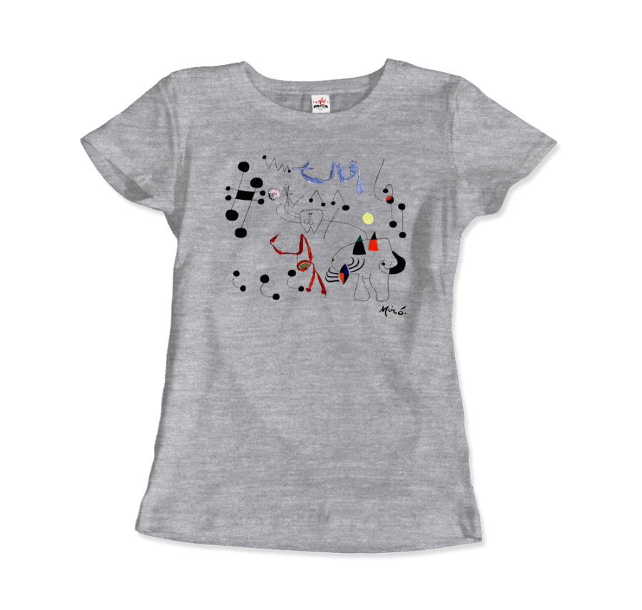 Joan Miro Woman Dreaming of Escape 1945 Artwork T-Shirt - Women / Heather Grey / Small by Art-O-Rama