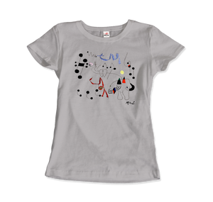 Joan Miro Woman Dreaming of Escape 1945 Artwork T-Shirt - Women / Silver / Small by Art-O-Rama
