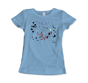 Joan Miro Woman Dreaming of Escape 1945 Artwork T-Shirt - Women / Light Blue / Small by Art-O-Rama