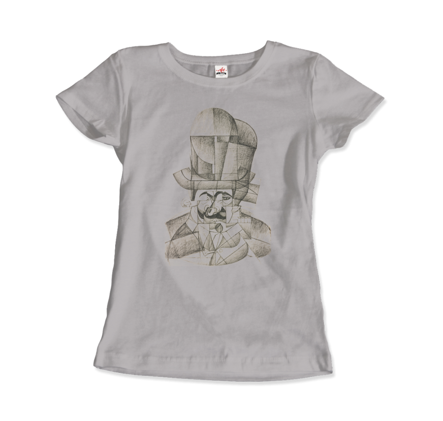 Juan Gris Man with Opera Hat 1912 Artwork T-Shirt - Women / Silver / Small by Art-O-Rama