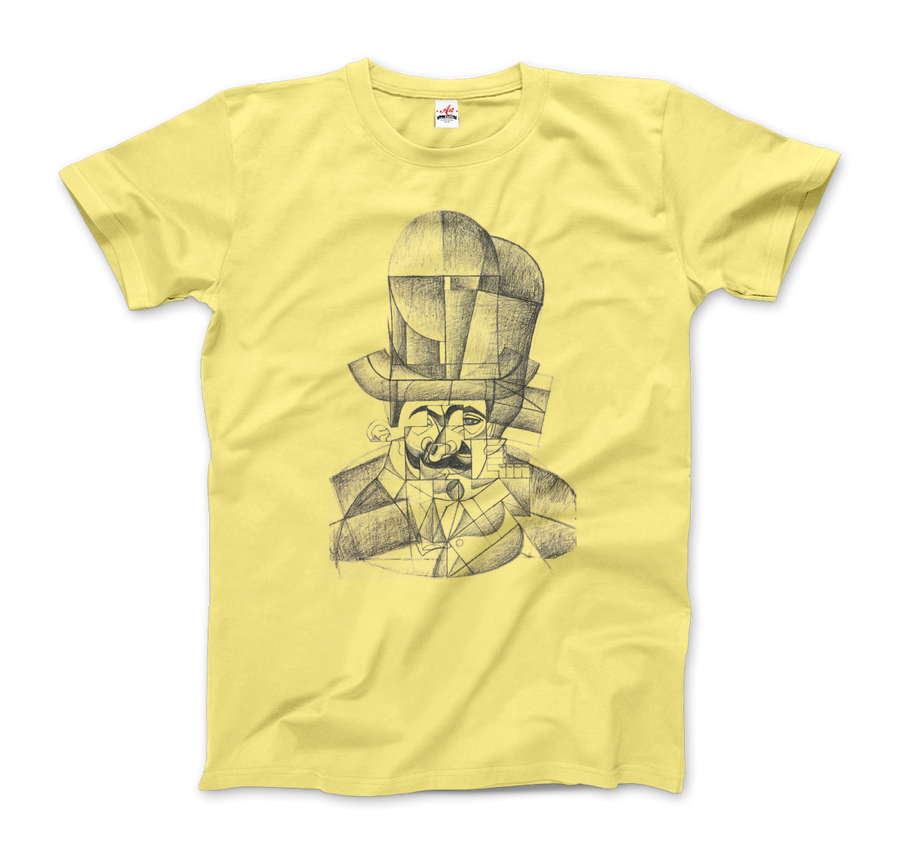 Juan Gris Man with Opera Hat 1912 Artwork T-Shirt - Men / Spring Yellow / Small by Art-O-Rama