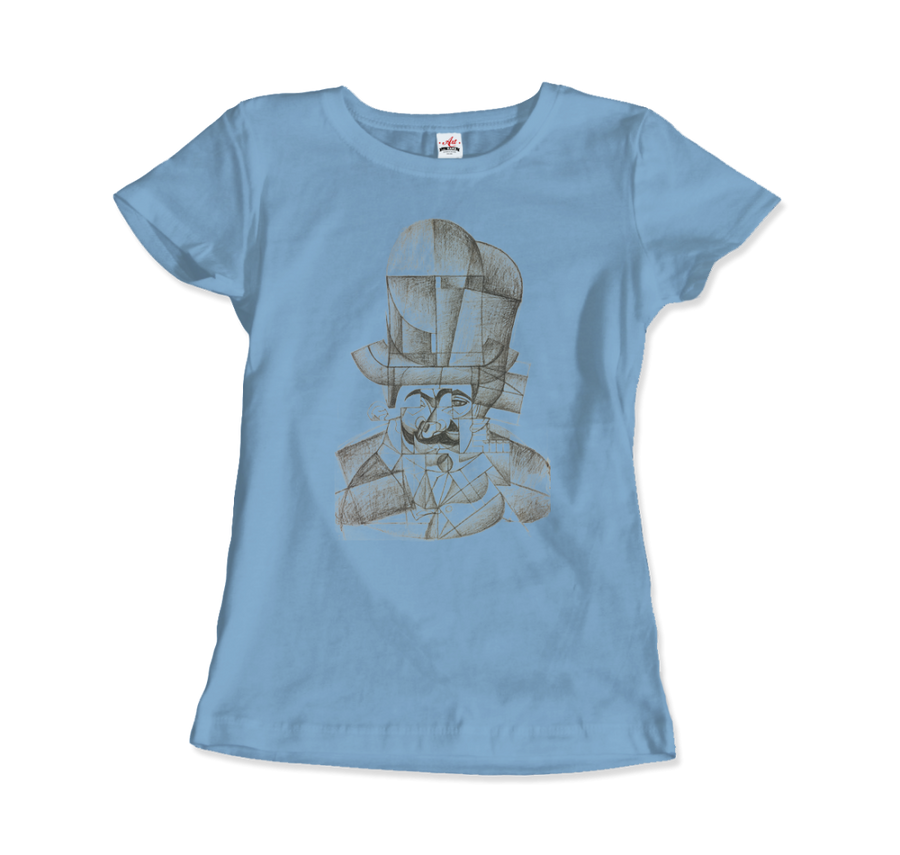 Juan Gris Man with Opera Hat 1912 Artwork T-Shirt - Women / Light Blue / Small by Art-O-Rama