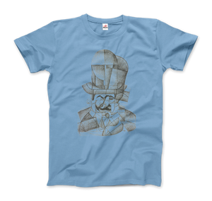 Juan Gris Man with Opera Hat 1912 Artwork T-Shirt - Men / Light Blue / Small by Art-O-Rama
