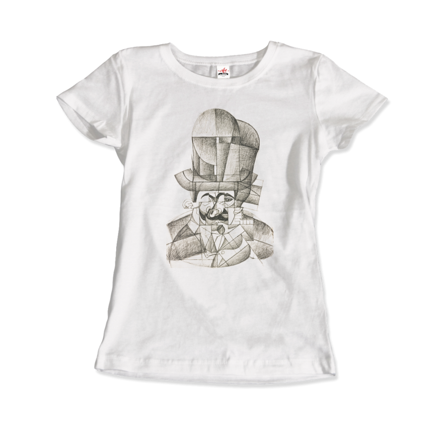 Juan Gris Man with Opera Hat 1912 Artwork T-Shirt - Women / White / Small by Art-O-Rama