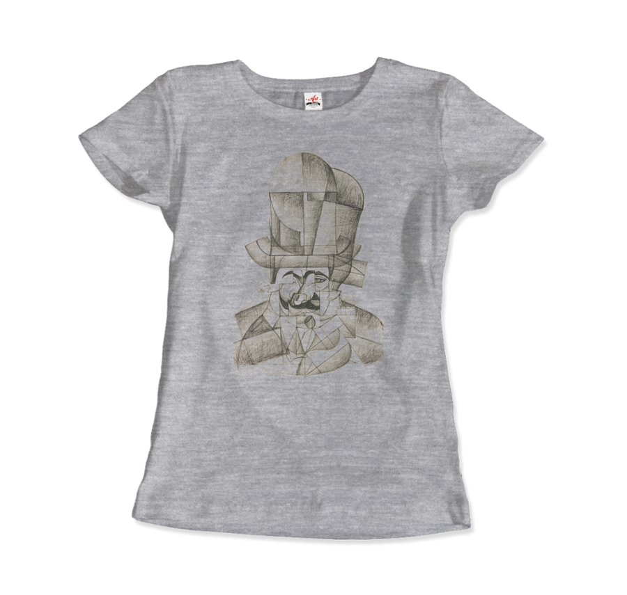 Juan Gris Man with Opera Hat 1912 Artwork T-Shirt - Women / Heather Grey / Small by Art-O-Rama