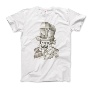 Juan Gris Man with Opera Hat 1912 Artwork T-Shirt - Men / White / Small by Art-O-Rama