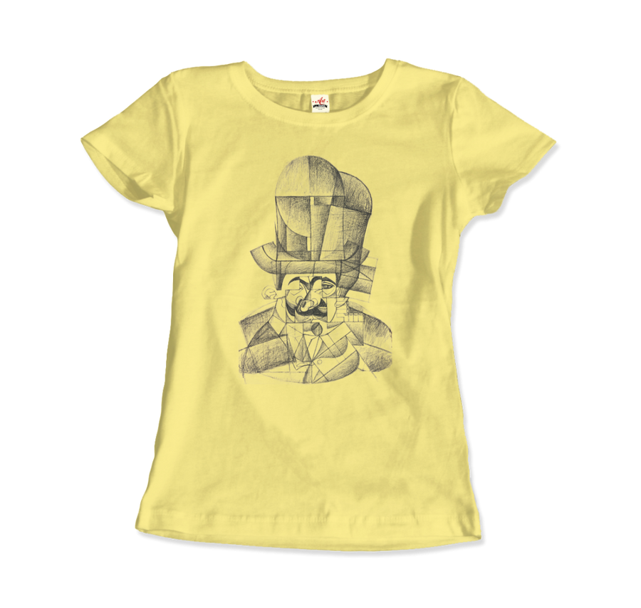 Juan Gris Man with Opera Hat 1912 Artwork T-Shirt - Women / Spring Yellow / Small by Art-O-Rama