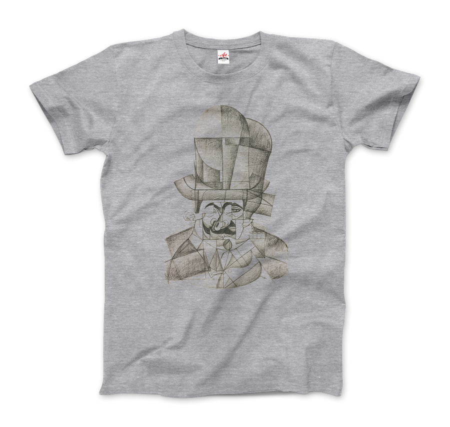 Juan Gris Man with Opera Hat 1912 Artwork T-Shirt - Men / Heather Grey / Small by Art-O-Rama
