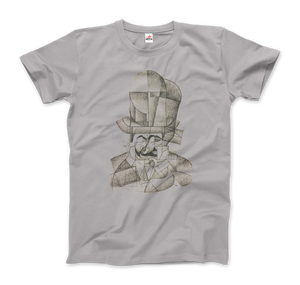 Juan Gris Man with Opera Hat 1912 Artwork T-Shirt - Men / Silver / Small by Art-O-Rama