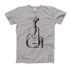 Juan Gris The Guitar 1912 Artwork T-Shirt - Men / Silver / Small by Art-O-Rama