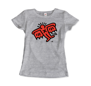 Keith Haring Flying Devil Icon, 1990 Street Art T-Shirt - Women / Heather Grey / Small by Art-O-Rama