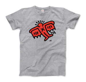 Keith Haring Flying Devil Icon, 1990 Street Art T-Shirt - Men / Heather Grey / Small by Art-O-Rama