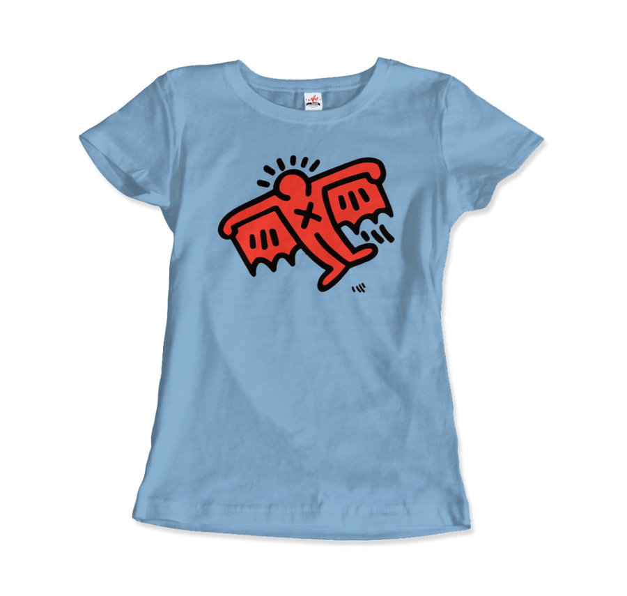 Keith Haring Flying Devil Icon, 1990 Street Art T-Shirt - Women / Light Blue / Small by Art-O-Rama