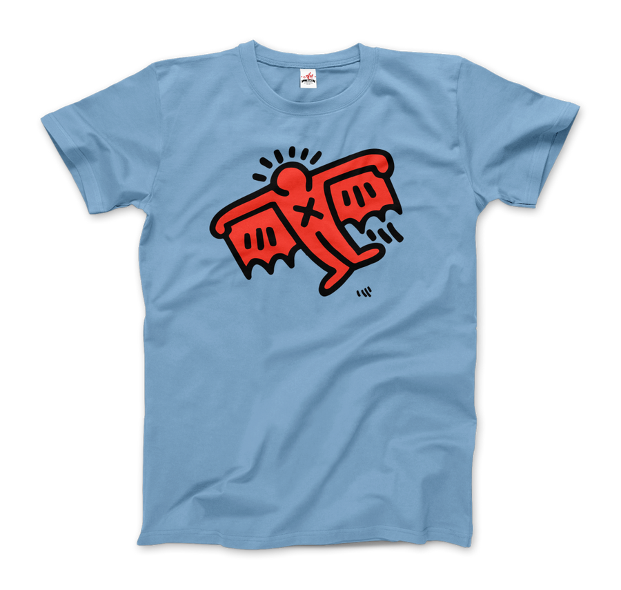 Keith Haring Flying Devil Icon, 1990 Street Art T-Shirt - Men / Light Blue / Small by Art-O-Rama