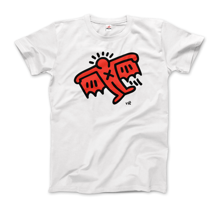 Keith Haring Flying Devil Icon, 1990 Street Art T-Shirt - Men / White / Small by Art-O-Rama