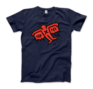 Keith Haring Flying Devil Icon, 1990 Street Art T-Shirt - Men / Navy / Small by Art-O-Rama