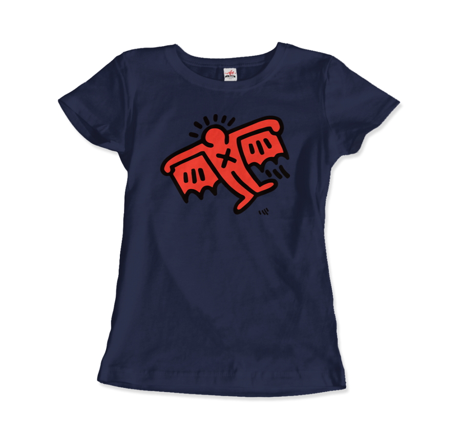 Keith Haring Flying Devil Icon, 1990 Street Art T-Shirt - Women / Navy / Small by Art-O-Rama
