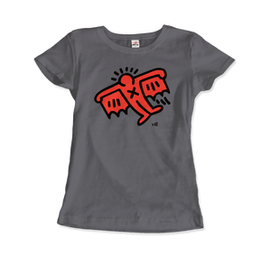 Keith Haring Flying Devil Icon, 1990 Street Art T-Shirt - Women / Charcoal / Small by Art-O-Rama