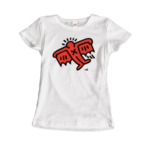 Keith Haring Flying Devil Icon, 1990 Street Art T-Shirt - Women / White / Small by Art-O-Rama