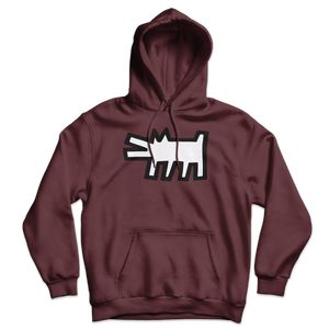 Keith Haring The Barking Dog Icon, 1990 Street Art Hoodie - Maroon / S by Art-O-Rama