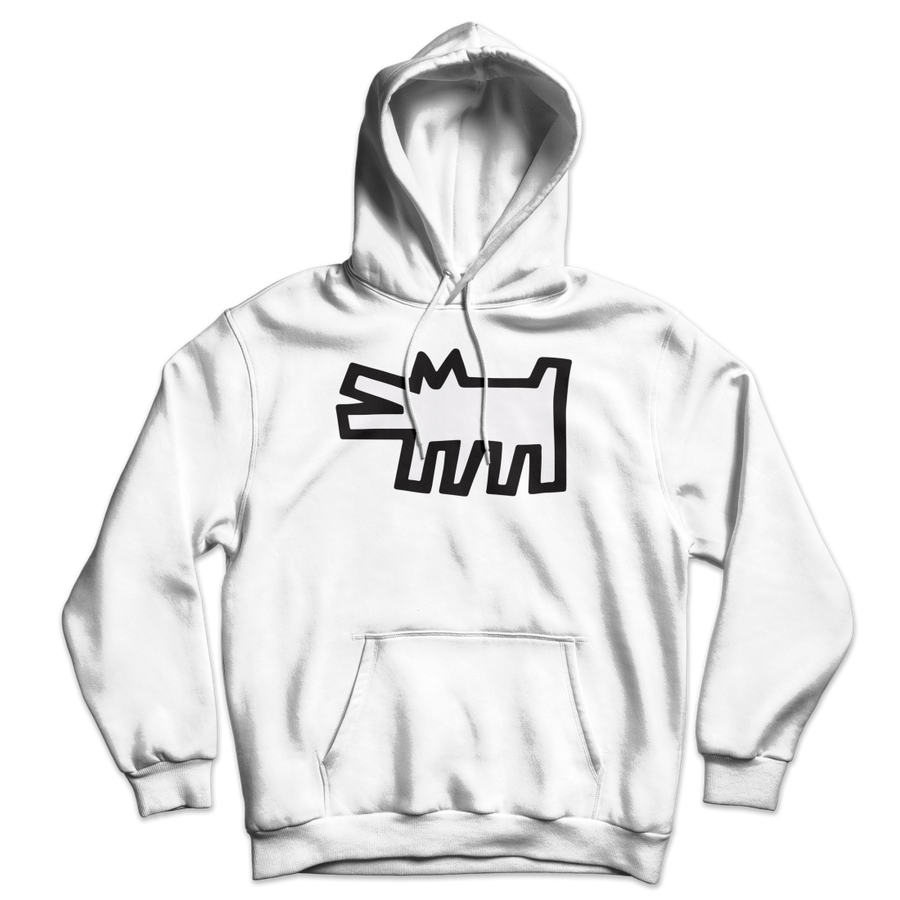 Keith Haring The Barking Dog Icon, 1990 Street Art Hoodie - White / S by Art-O-Rama