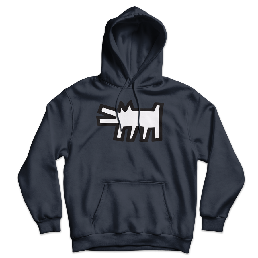 Keith Haring The Barking Dog Icon, 1990 Street Art Hoodie - Navy / S by Art-O-Rama