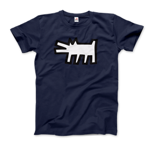 Keith Haring The Barking Dog Icon, 1990 Street Art T-Shirt - Men / Navy / Small by Art-O-Rama