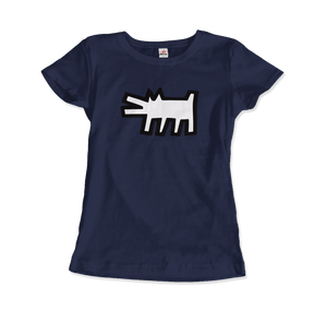 Keith Haring The Barking Dog Icon, 1990 Street Art T-Shirt - Women / Navy / Small by Art-O-Rama